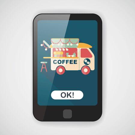 긴 그림자가있는 커피 숍 자동차 평면 아이콘 일러스트