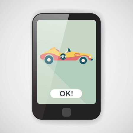 open car: Transportation open car flat icon with long shadow  Illustration
