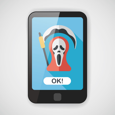 doom: Grim Reaper flat icon with long shadow  Illustration