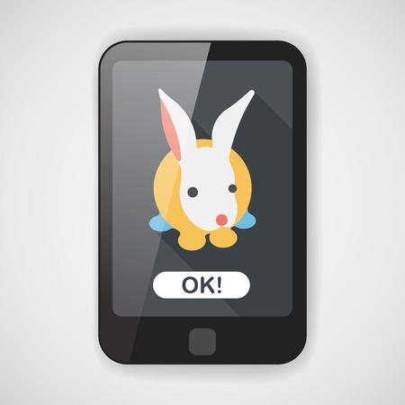 animal themes: Pet rabbit flat icon with long shadow Illustration