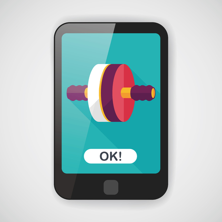 abdominal exercise: exercise roller flat icon with long shadow,eps10 Illustration