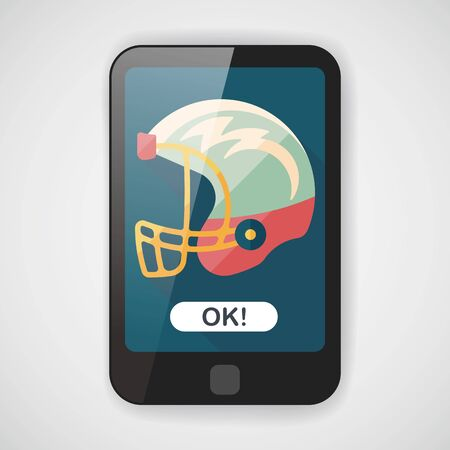 american football helmet: american football helmet flat icon with long shadow,eps10 Illustration