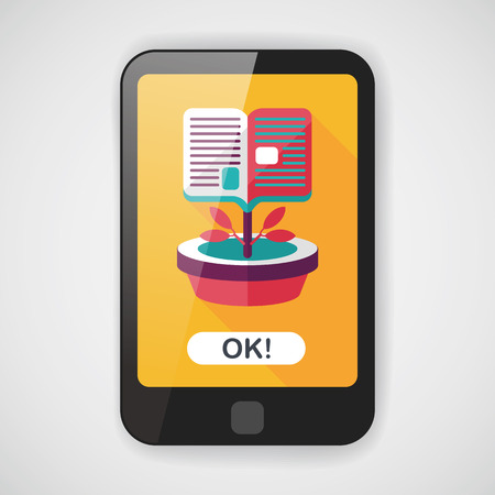 collaborative: book tree flat icon with long shadow,eps10 Illustration