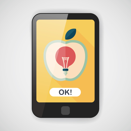 science text: light bulb in apple flat icon with long shadow,eps10