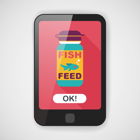 animals feeding: Pet fish feed flat icon with long shadow, eps10