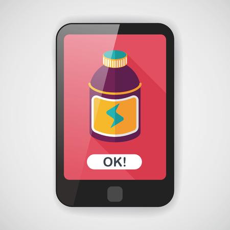 tonic: energy drinks flat icon with long shadow,eps10