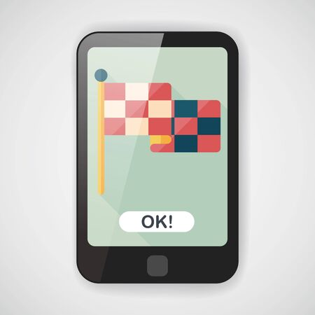 crossed checkered flags: racing flags flat icon with long shadow,eps10 Illustration