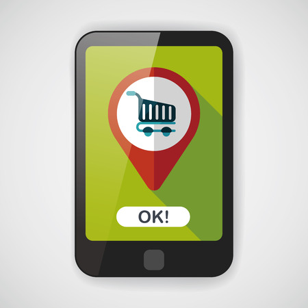 into: shopping check into place flat icon with long shadow,eps10