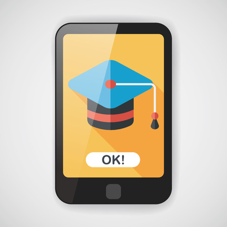 master degree: Education Cap flat icon with long shadow,eps10