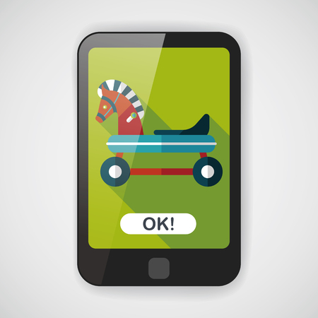 old cowboy: horse toy car flat icon with long shadow,eps10