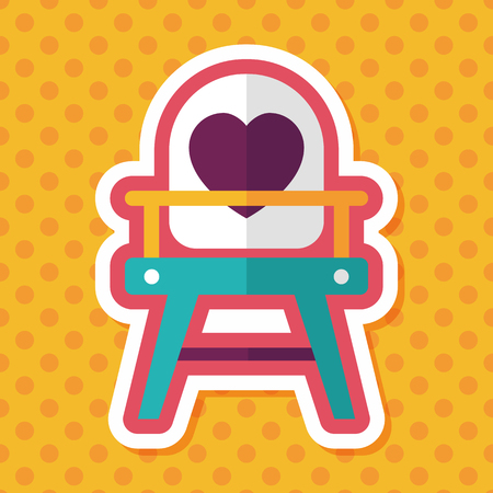 high chair: baby high chair flat icon with long shadow,eps10 Vectores