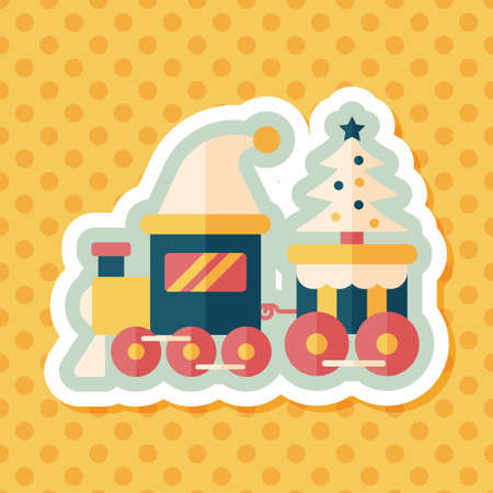 christmas train: Christmas train toy flat icon with long shadow,eps10 Illustration