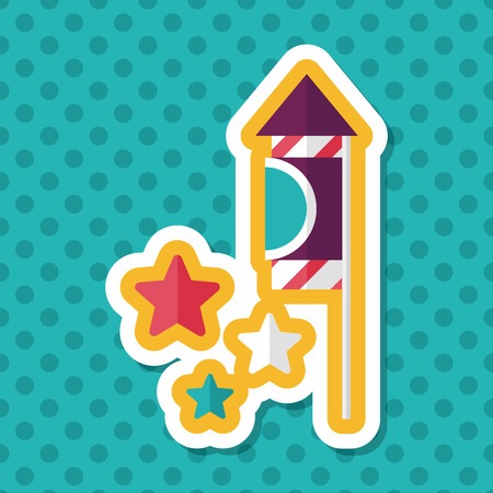 skyrocket: Firecracker flat icon with long shadow,eps10 Illustration