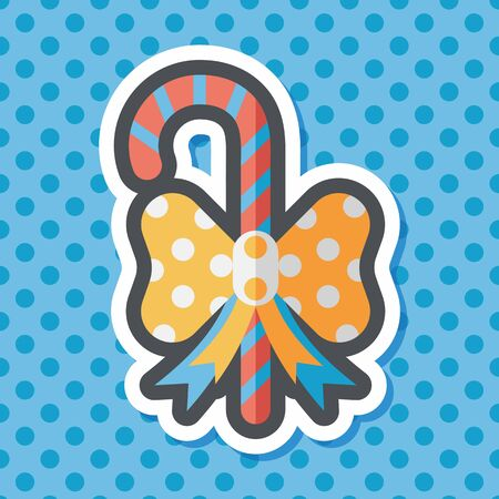 candycane: Christmas candy cane flat icon with long shadow,eps10