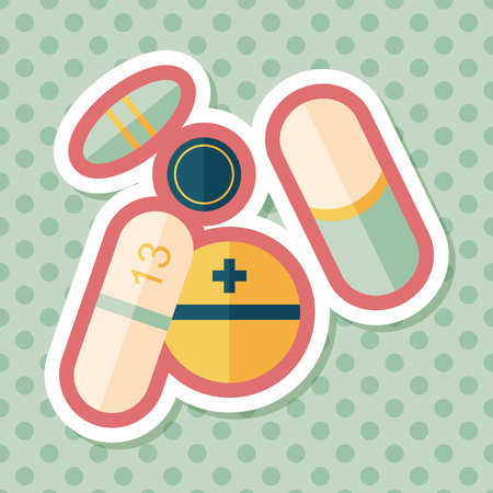 pills: Pills flat icon with long shadow,eps10