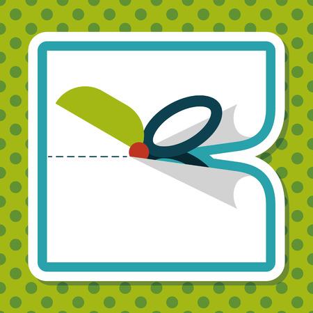 scissor cut: Scissor cut paper flat icon with long shadow,eps10 Illustration
