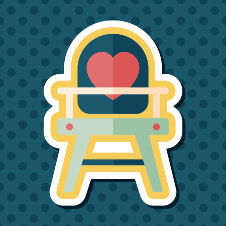 high chair: baby high chair flat icon with long shadow,eps10 Illustration