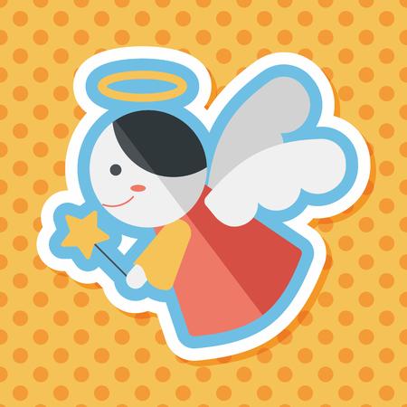 valentine cherub: angel flat icon with long shadow,eps 10