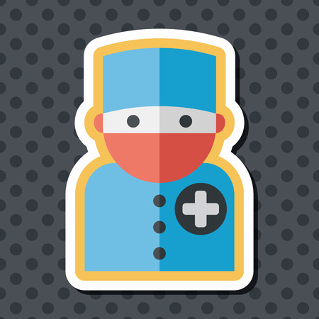 surgical nurse: medical people with stethoscopes flat icon with long shadow, eps10