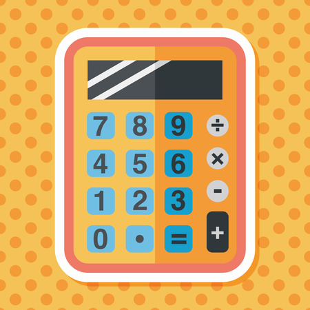 compute: calculator flat icon with long shadow,eps10