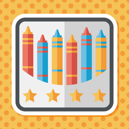 crayons: crayons flat icon with long shadow,eps10 Illustration