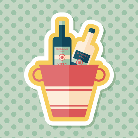 refrigerated: Ice bottle flat icon with long shadow,eps10 Illustration