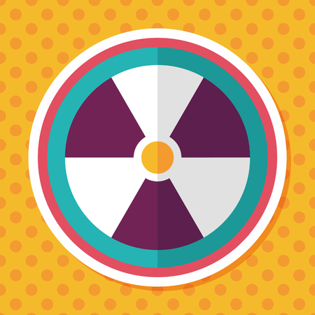 nuclear safety: Radiation flat icon with long shadow,eps10 Illustration
