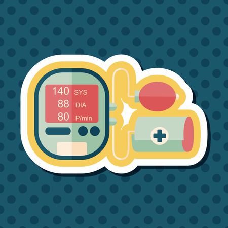 sphygmomanometer: sphygmomanometer blood pressure flat icon with long shadow,eps10