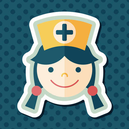 nurse home: Medical nurse flat icon with long shadow,eps10