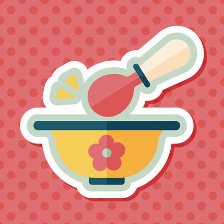 cookery: baby food bowl flat icon with long shadow,eps10 Illustration