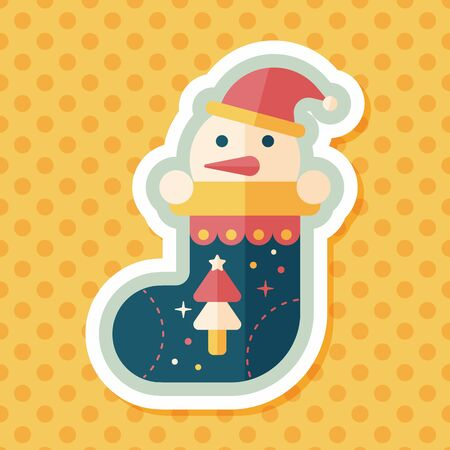 white stockings: Christmas stocking flat icon with long shadow,eps10