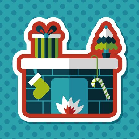 festive occasions: Christmas fireplace flat icon with long shadow,eps10