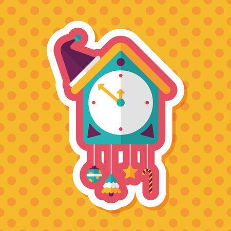 reloj cucu: Cuckoo clock flat icon with long shadow,eps10