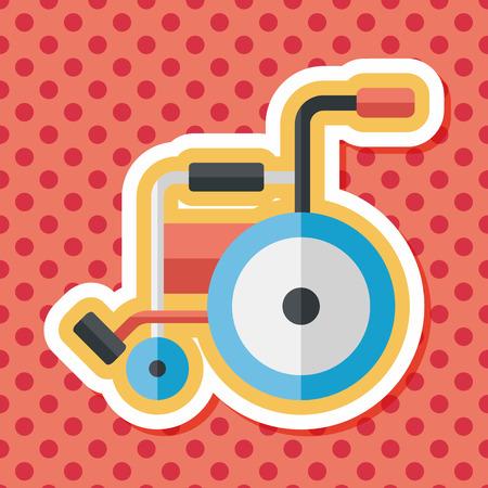 paraplegic: Icono plana con silla de ruedas con una larga sombra, eps10 Vectores
