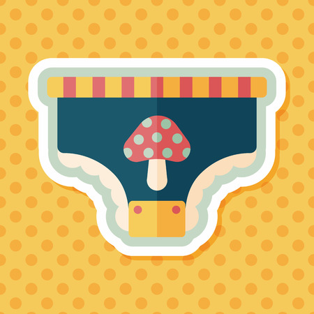 pampers: diaper flat icon with long shadow,eps10