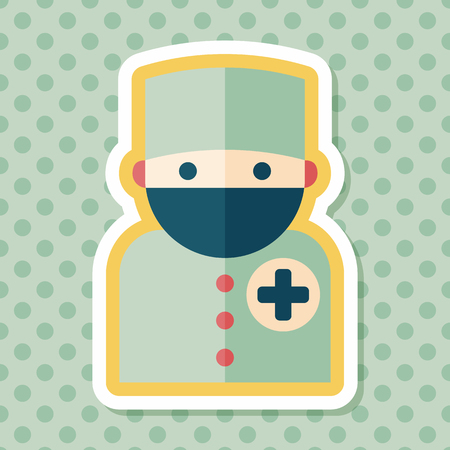 surgeon mask: medical people with stethoscopes flat icon with long shadow, eps10