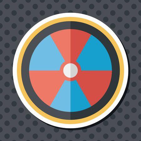 radiacion: Icono plana radiaci�n con una larga sombra, eps10