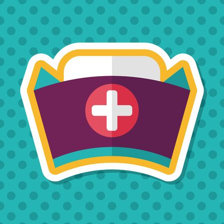 nursing clothes: nurse hat flat icon with long shadow,eps10 Illustration