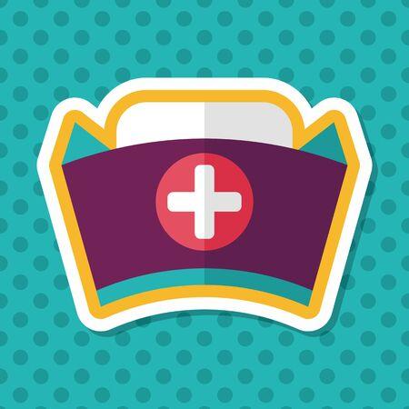 enfermera con cofia: nurse hat flat icon with long shadow,eps10 Vectores