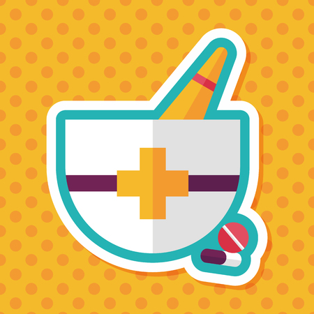 alternative medicine: mortar and pestle flat icon with long shadow,eps10