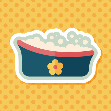 bathtime: baby bath flat icon with long shadow,eps10