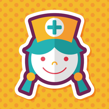 home care nurse: Medical nurse flat icon with long shadow,eps10
