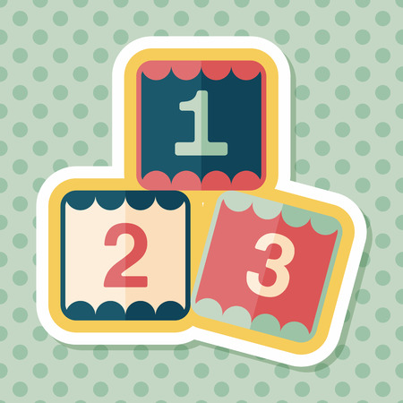 number icons: 123 blocks flat icon with long shadow,eps10 Illustration