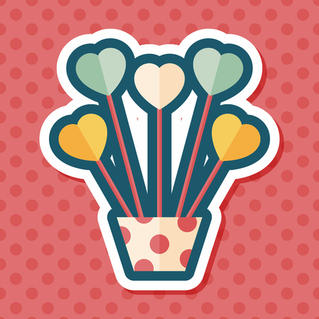 heart flower: heart flower flat icon with long shadow,eps10