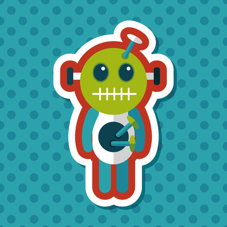 deadman: Halloween voodoo doll flat icon with long shadow,eps10 Illustration