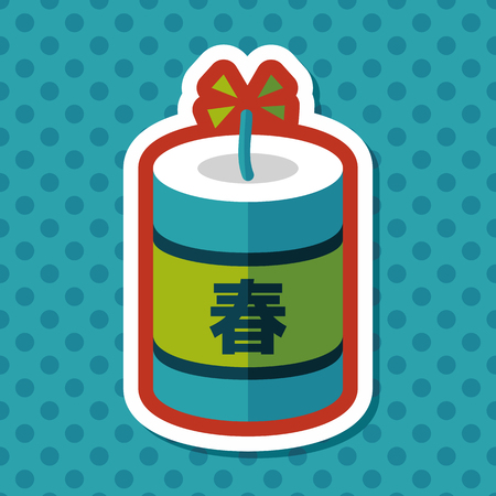 spring festival couplets: Chinese New Year flat icon, eps10, Chinese festival couplets with firecrackers means  wish the arrival of spring.