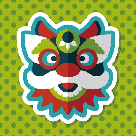 new icon: Chinese New Year flat icon with long shadow,eps10,The dragon and lion dancing head