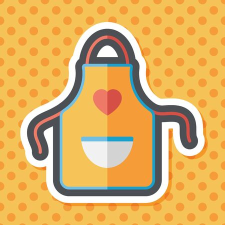 specific clothing: kitchenware apron flat icon with long shadow,eps10