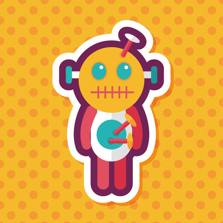 curse: Halloween voodoo doll flat icon with long shadow,eps10 Illustration
