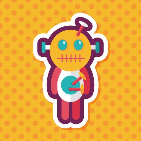 deadman: Halloween voodoo doll flat icon with long shadow,eps10 Illustration